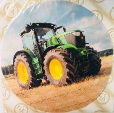 Dekorációs ostya - Zöld traktor