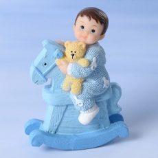 Keresztelői baba - Kisfiú hintalóval