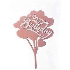 Sziluett beszúró - Happy Birthday rózsaszín