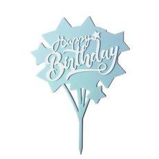 Sziluett beszúró - Happy Birthday kék