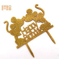 Sziluett beszúró - Egeres arany Happy Birthday