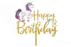 Tortadísz Happy Birthday Unikornissal
