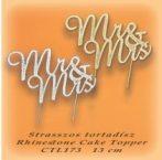 """Strasszos beszúró ezüst """"Mr Mrs"""""""