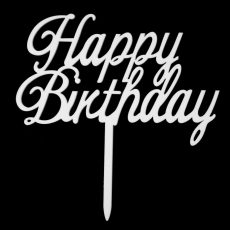 Sziluett beszúró Happy Birthday fehér
