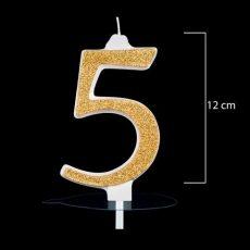 """Óriás arany számgyertya """"5""""-ös"""