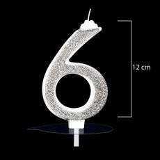 """Óriás ezüst számgyertya """"5""""-ös"""
