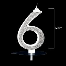 """Óriás ezüst számgyertya """"6""""-os"""