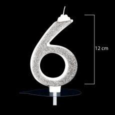 """Óriás ezüst számgyertya """"9""""-es"""