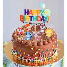 Sziluett beszúró Happy Birthday - állatos
