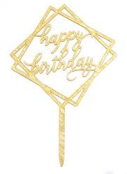 Tortadísz Happy Birthday szögletes
