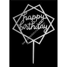 Tortadísz Happy Birthday szögletes - ezüst