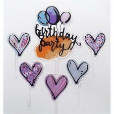 Sziluett beszúró - Happy Birthday party szíves