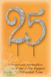 """Strasszos beszúró ezüst """"25"""""""