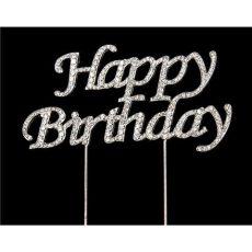 Strassz beszúró Happy Birthday - ezüst