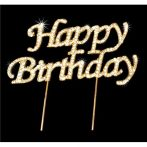 Strassz beszúró Happy Birthday - arany