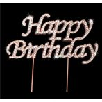 Strassz beszúró Happy Birthday - rose gold